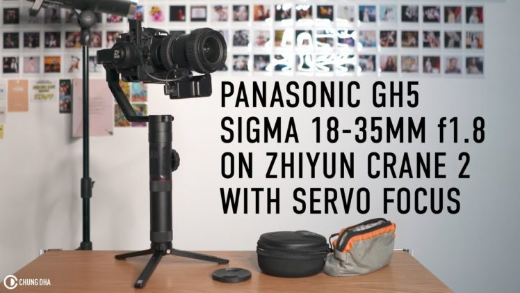 Zhiyun Crane 2 balancing Panasonic GH5 with Sigma 18-35mm f1.8 and Servo focus