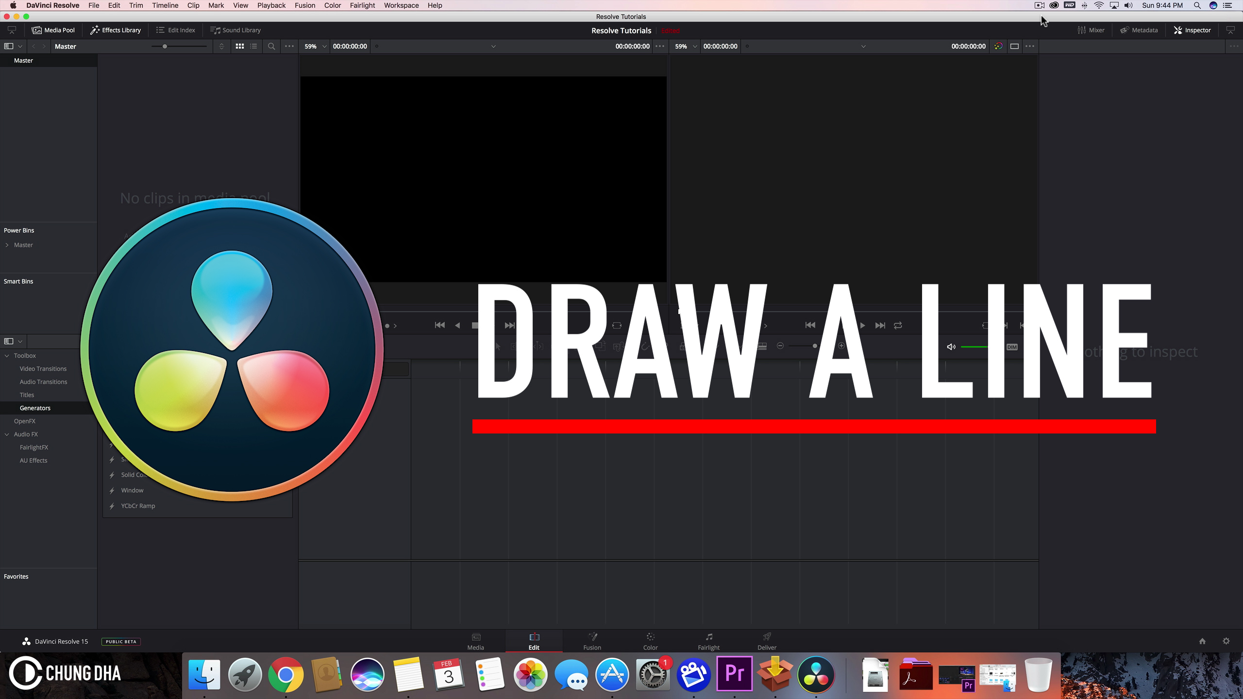 Draw a line in Davinci Resolve 15